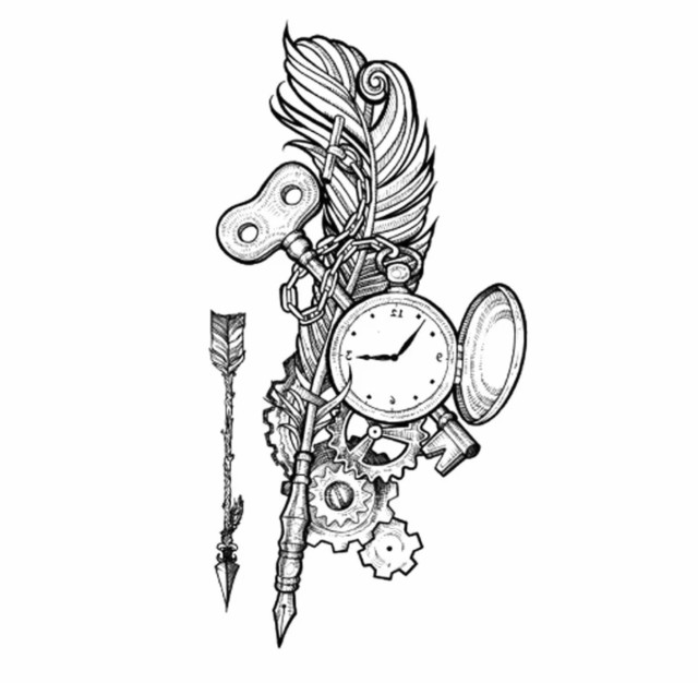 タトゥーシール フェイクタトゥー 時計 懐中時計 羽根 鍵 ファッションシール 刺青 入れ墨 文身 tattoo 送料無料
