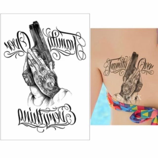 タトゥーシール フェイクタトゥー ピストル 拳銃 鉄砲 合掌 アメリカン ファッションシール 刺青 入れ墨 文身 tattoo 送料無料
