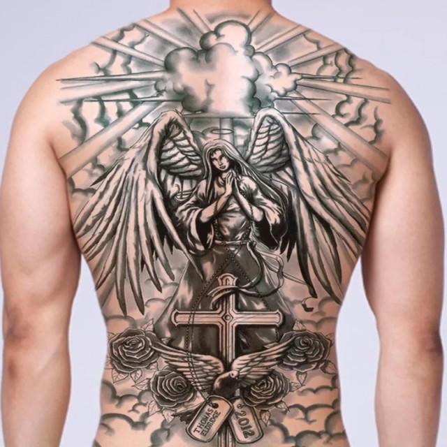 タトゥーシール 背中用 聖母 マリア クロス 特大版 刺青 入れ墨 文身 tattoo 送料無料 1P