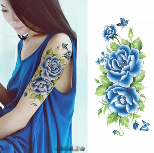 タトゥーシール フェイクタトゥー ノースリーブ 花 牡丹 ファッションシール 刺青 入れ墨 文身 tattoo アメリカン 送料無料