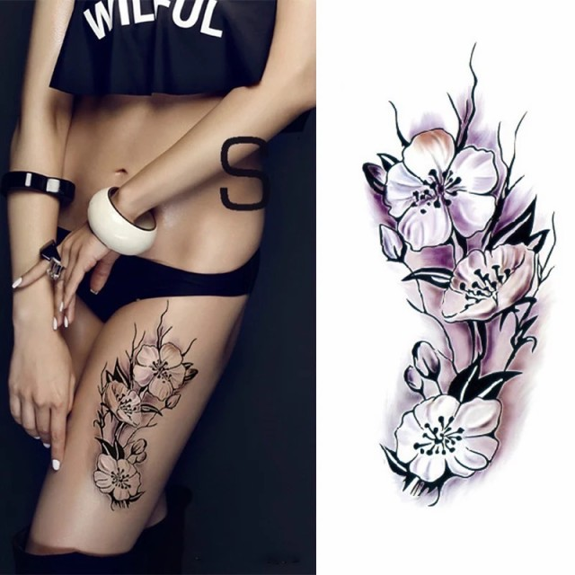 タトゥーシール フェイクタトゥー ノースリーブ 花 フラワー ファッションシール 刺青 入れ墨 文身 tattoo アメリカン 送料無料