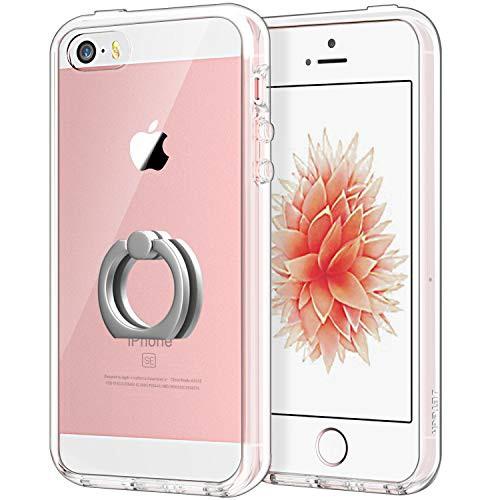 f05eecfbeb JEDirect iPhone SE 5s 5 ケース リング付き スタンド機能 バンパー 衝撃吸収 (クリア)