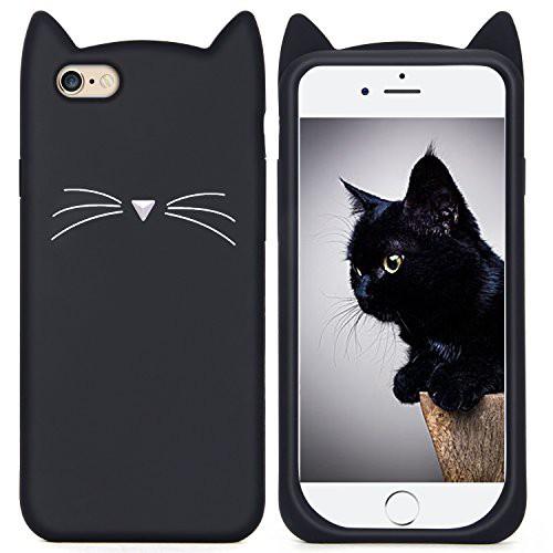 30922b55fb Imikoko iPhone 6s Plus ケース iPhone 6 Plus ケース シリコン 猫 かわいい 黒 アイフォン6sプラス