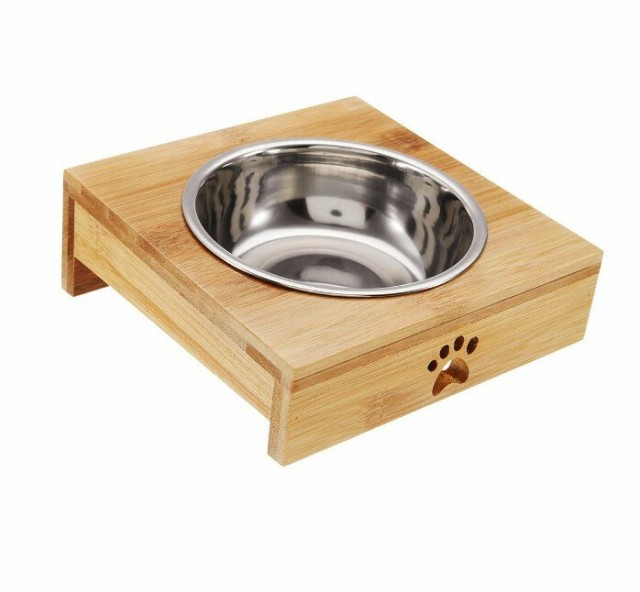餌入れ ペット バンブー食器 シングル ステンレス製 フィーダーボウル 小型犬猫 フードボウル