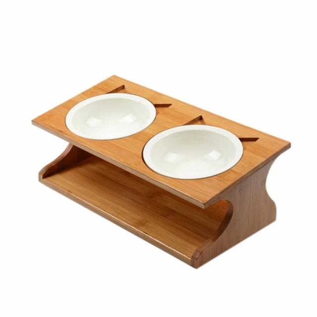 餌入れ 水入れ フードボウル 竹製セラミック ペット 小型犬 猫 食器