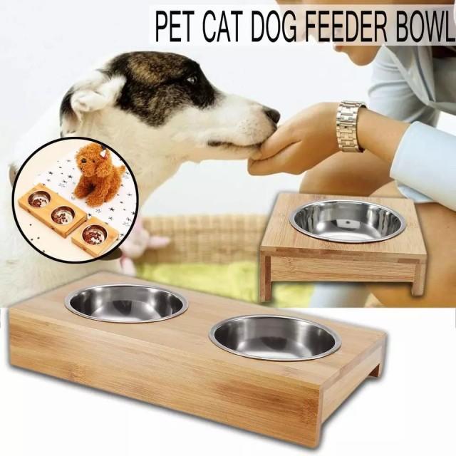 餌入れ ペット バンブー食器 ダブル ステンレス製 フィーダーボウル 小型犬 猫 フードボウル