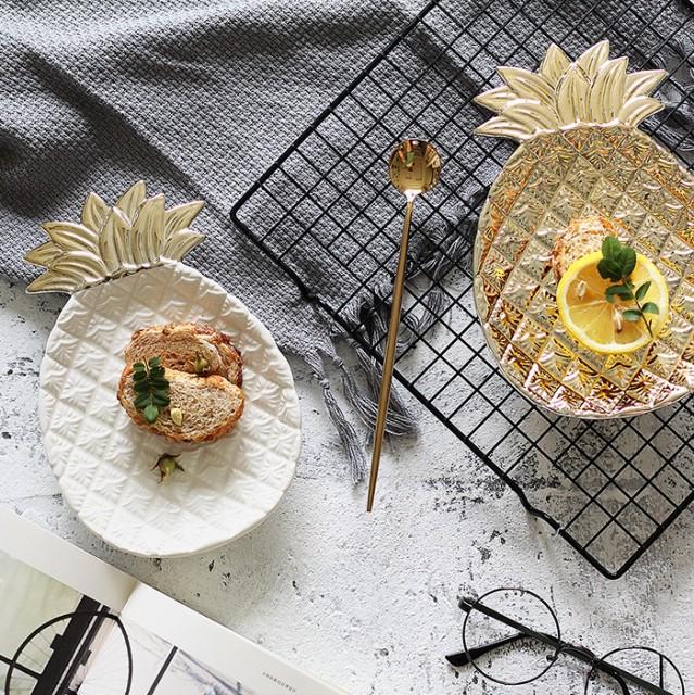 おしゃれな パイナップル型 フルーツプレート ラウンドプレート 陶器 お皿 カトラリー インテリア 小物入れ 壁掛け ゴールド ホワイト