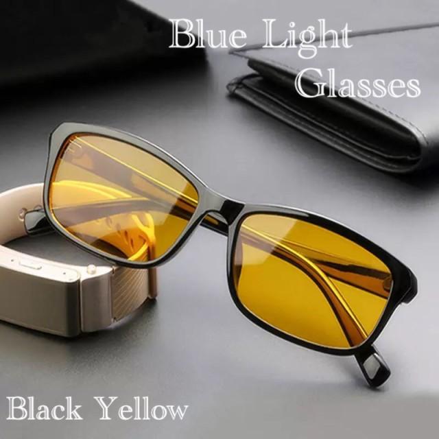 スクエアー メガネ ブルーライトメガネ 伊達眼鏡  サングラス パソコン用 PC用メガネ UVカット ファッション眼鏡 ブラック イエロー
