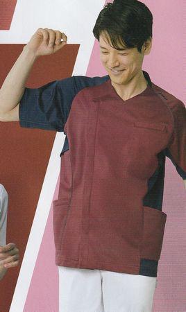 ★アシックス★スクラブ 白衣 ケアワーク(介護用 )白衣 男性用 メンズ 住商モンブラン