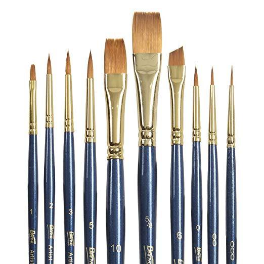 (ビア二オ) Bianyo 水彩用 ナイロン絵筆 ペイントブラシ 平筆 丸筆 初心者向け 10本セット