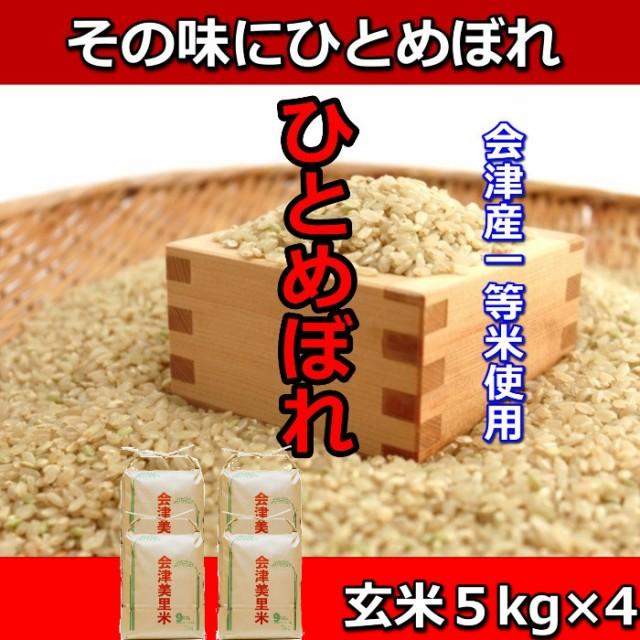 米 お米 5kg×4袋 玄米 1年産新米 会津米 ひとめぼれ 特A一等米使用 中部地方までの本州地域送料無料