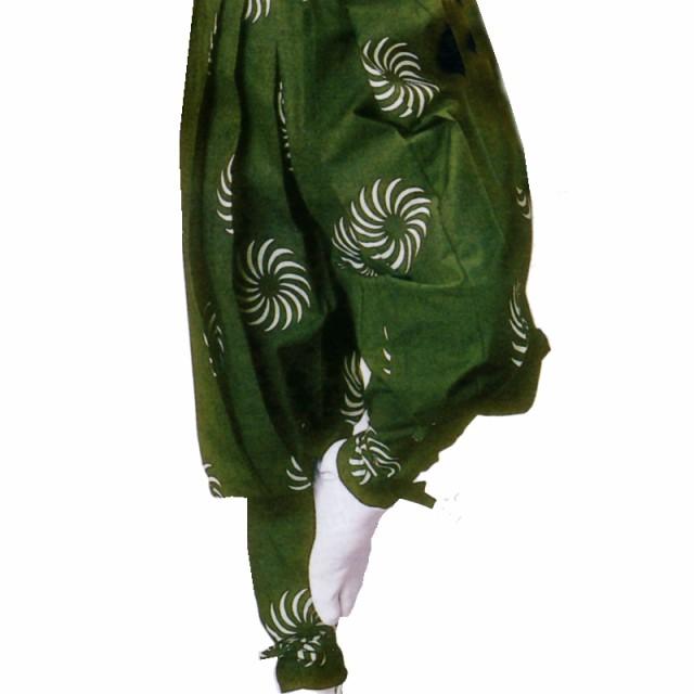 【お祭り用品】【手古舞衣装】たっつけ袴 緑 獅子毛 小-大【お祭用品/祭用品/お祭り】B8701