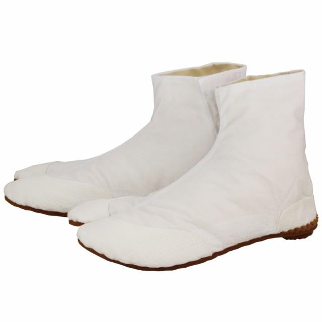 【きねや足袋】【お祭り足袋・職人足袋】無敵地下足袋 白綾5枚こはぜ 手縫い付底28−30cm