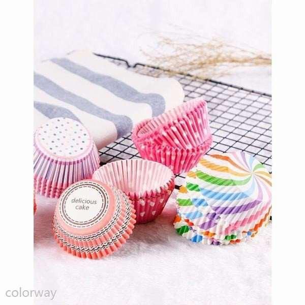 マフィンカップ(ハートチェック) 300枚マフィンカップ マフィン型 ベーキングカップ 紙製 焼型 ケーキカップ ギフト お菓子 手作りcolorw