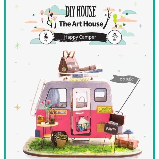 3Dハウスキット キャンピングカー ボックスパズル ドールハウス 3Dパズル DIY クラフト ミニチュア 家具つき おもちゃ 子供プレゼント