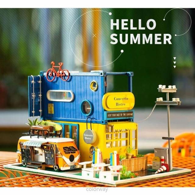 3Dハウスキット キッチンカー ドールハウス 3Dパズル DIY クラフト ミニチュア 家具つき ダストカバー おもちゃ 子供プレゼント