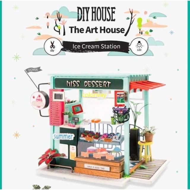 3Dハウスキット アイスクリーム屋 ボックスパズル ドールハウス 3Dパズル DIY クラフト ミニチュア 家具つき おもちゃ 子供プレゼント