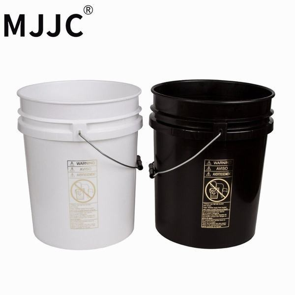 MJJC ブランド高品質デュアルバケツ 2 バケツ洗濯キット各バケット 5 ガロン (20L) 黒 1 と 1 白