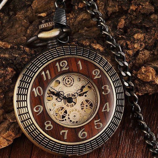 懐中時計 アンティーク 木製 サークルケース 手巻き機械式 ボックスなし