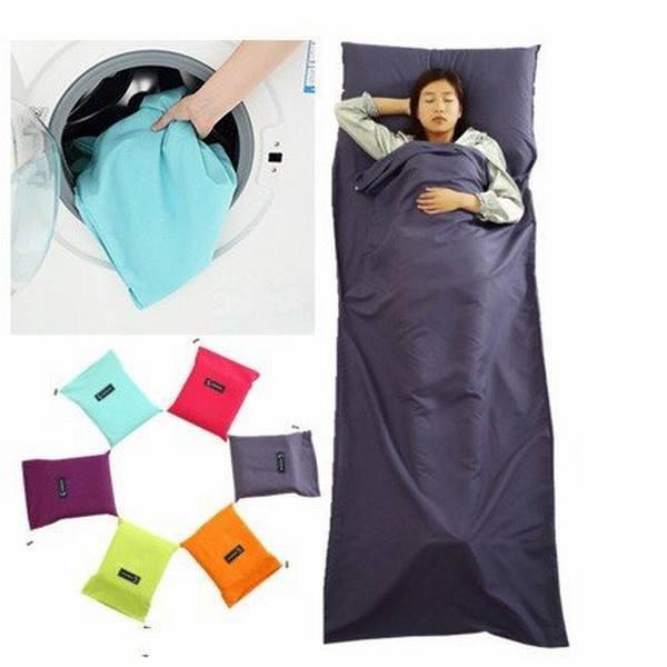 寝袋 シュラフ インナーシュラフ 携帯 軽量 車中泊 ツーリング キャンプ 丸洗い 春 夏