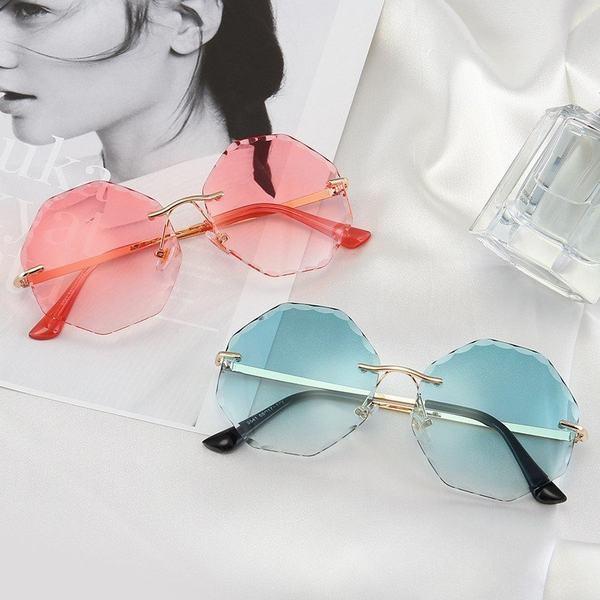 サングラス レディース メンズ UVカット 偏光サングラス 軽量 おしゃれ フレーム無し PC眼鏡 縁なしサングラス ケース付