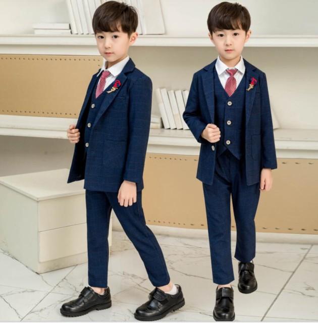 6点セット フォーマル タキシードスーツ 子供スーツ ジュニアスーツ 演奏会 入学式 卒園式 チェック柄 90~150 卒業式 男の子スーツ 子供