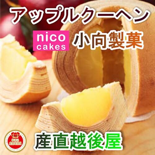 【スイーツ 洋菓子 バームクーヘン】 青森県創作洋菓子店 小向製菓 りんご丸ごと1個入ったアップルクーヘン1個 専用ギフト箱入 焼きたて