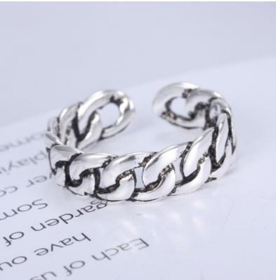 送料無料!チェーン 風 デザイン の リング 指輪 フリーサイズ メンズ レディース ユニセックス シルバーアクセサリー