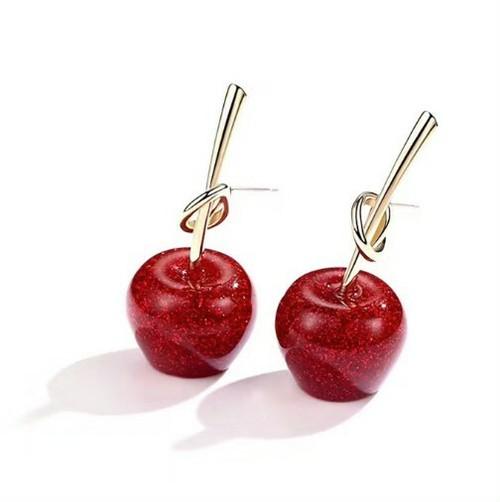 送料無料!【ピアス】りんごピアス ピアス かわいい アップル ゴールド フルーツ 果物ピアス ラメ レディース アクセサリー ジ