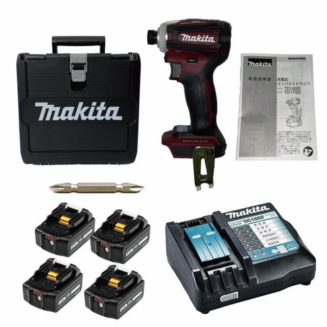 TD172DGXAR 互換バッテリーセット マキタ インパクトドライバ レッド TD171 後継機 18V 6.0Ah 互換バッテリー4個セット makita BL1860B T