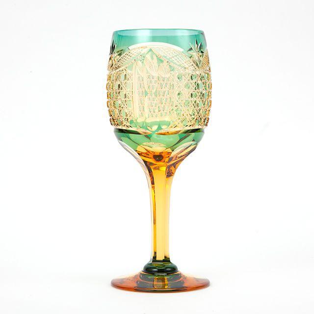 送料無料 江戸切子アンバークリスタルワイングラス(緑)贈答品に最適(83)
