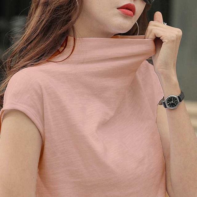 春 夏 レディース トップス シャツ Tシャツ 大きいサイズ ボトルネック シンプル おしゃれ 半袖 黒 白 青 桃 紺 茶 YN-7-134