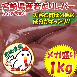 宮崎県産若鶏レバー(ハツ含む)メガ盛り1kg 【レバニラやきとり焼肉】