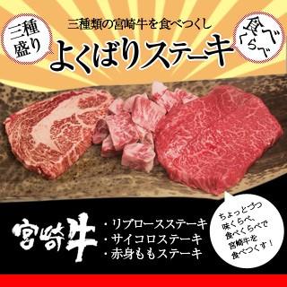 【送料無料】宮崎牛よくばりステーキ三種盛り【ステーキ食べ比べ】