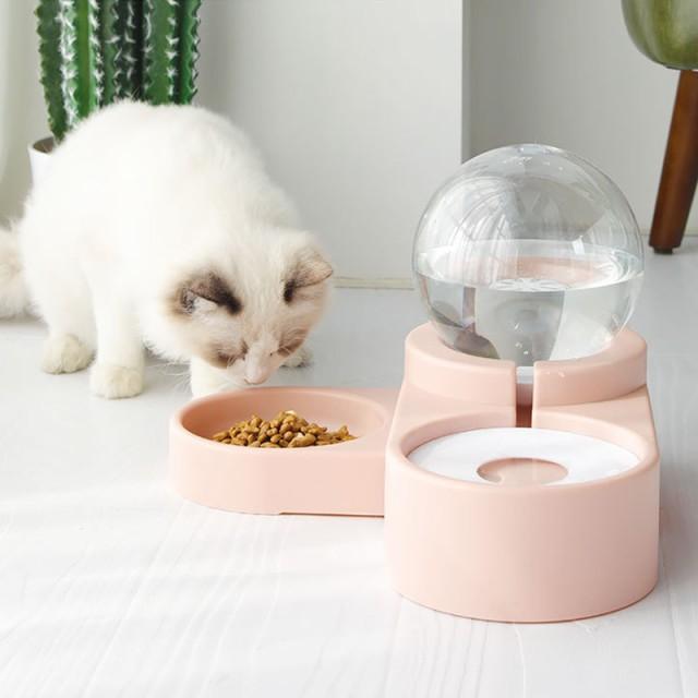ペット給水器 水食一体 犬猫用 自動給餌器 自動水飲み器 大容量 給水器 犬 猫 水飲み器 水漏れ防止 水飲みカップ 水飲みボトル 丸洗い