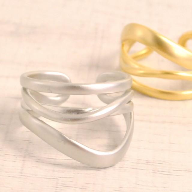 送料無料 片耳用 2WAY変形ラインイヤーカフ&リング 指輪 変形 ニュアンス イヤリング フープ シルバー ゴールド マット
