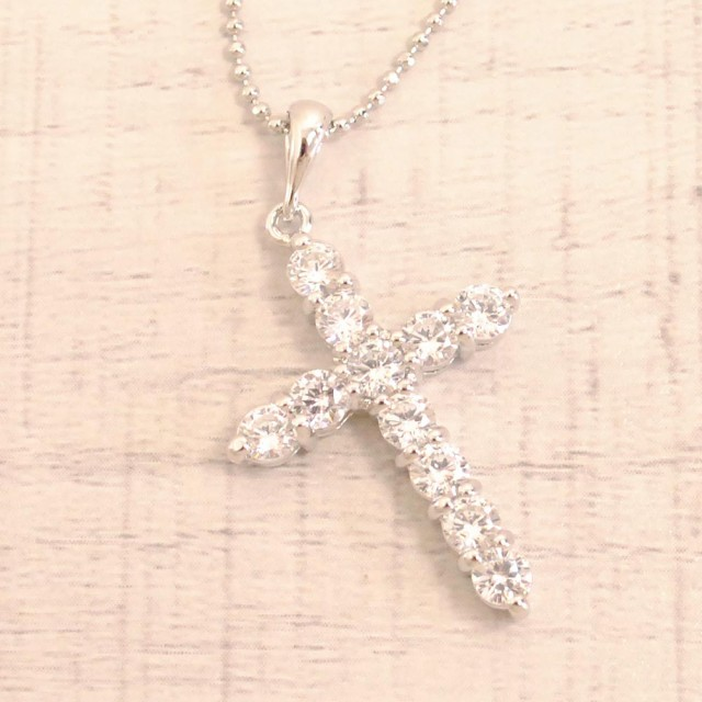 送料無料 AAAジルコニアクロスネックレス ペンダント 大きめ 十字架 CZ キュービックジルコニア