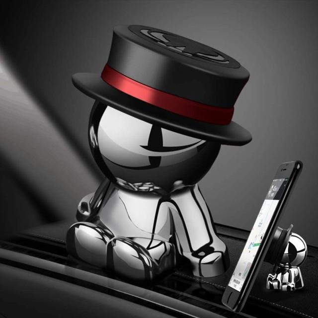 車載スマホホルダーダッシュボードクリップ携帯ホルダーiphone スタンド可愛360度回転|創意プレゼント(ブラック)