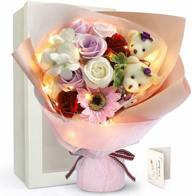 LEDイルミネーション ひまわり カーネーション 紫のバラ ソープフラワー ベア 枯れない花 石鹸花 バラ 造花 花束くま束 ブーケ 2匹ぬいぐ