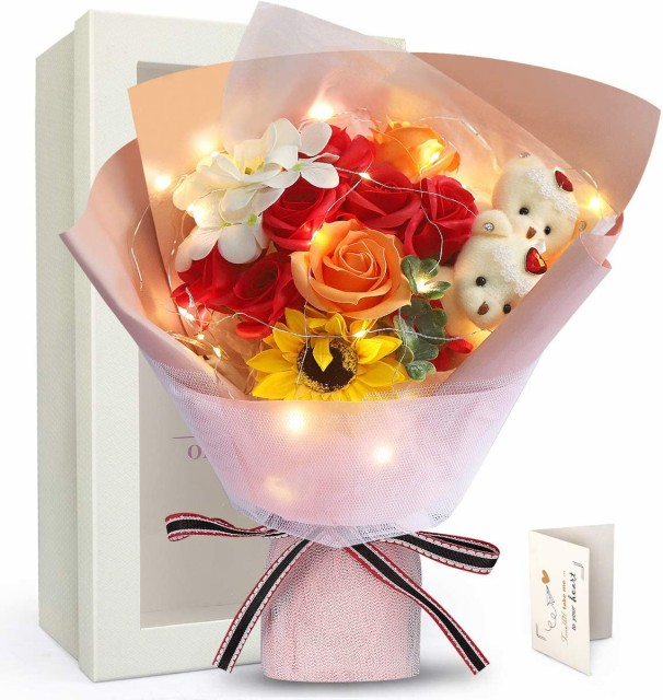 LEDイルミネーション 敬老の日 プレゼント 花束 ひまわり ソープフラワー ベア 枯れない花 石鹸花 バラ 造花 花束くま束 ブーケ 2匹ぬい