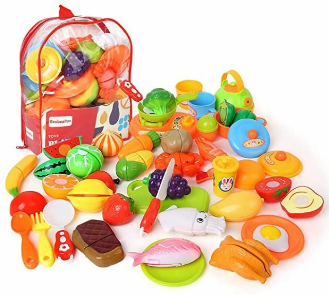 Beebeerun おままごとセット 野菜 果物 キッチン お料理しましょう リアル 切れる 親子遊び おもちゃ 収納バッグ ごっこ遊び
