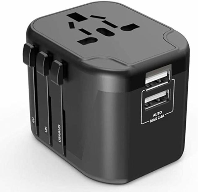 海外 変換プラグ 変換 コンセント 旅行充電器 - LUXSURE 200ヶ国家対応 海外変換器 ACアダプタ 2000W/8A 2つUSB 2.4Aポート付き充電器 マ