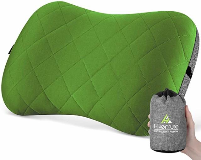 キャンプ枕 エアーピロー 携帯枕 トラベルピロー コットンカバー付き エアー枕 旅行枕 キャンプまくら 空気枕 腰枕 超軽量 コンパクト 収