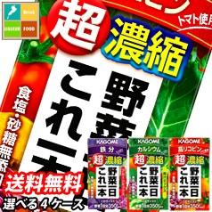 【送料無料】カゴメ 野菜一日これ一本超濃縮125ml紙パック(24本×4種類)合計96本セット【選べる】【選り取り】