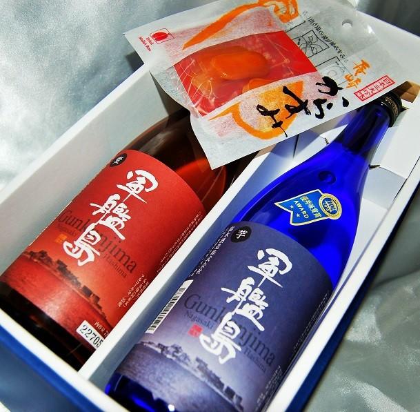 ダブル受賞 軍艦島うまい長崎セット/芋・麦焼酎720・スライスからすみ5枚入り (送料無料 一部地域無を除く)