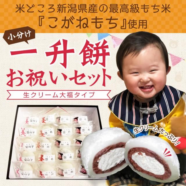 一升餅 生クリーム大福 1歳 お祝い セット 小分け 将来の才能や職業を占う選び取りカード付き 米どころ新潟県産の最高級もち米『こがねも