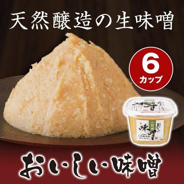 【おいしい味噌(信州味噌) 750g 6カップ】みそ 国産大豆 国産米 天然醸造 白粒味噌 熟成後、そのままつめた生味噌タイプ