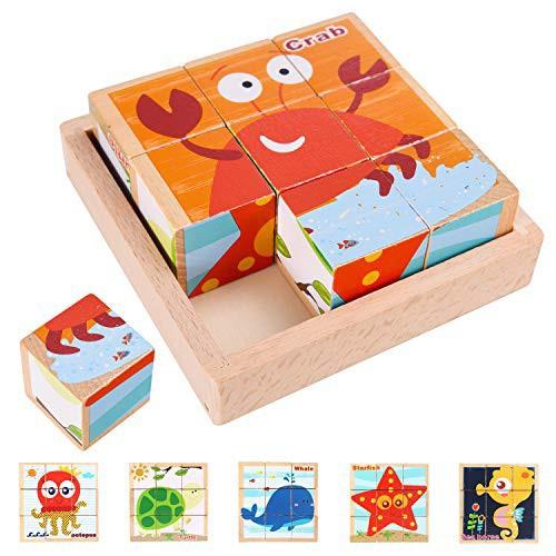ブロック 積み木 パズル 9 キューブパズル 木製 海洋生物6面