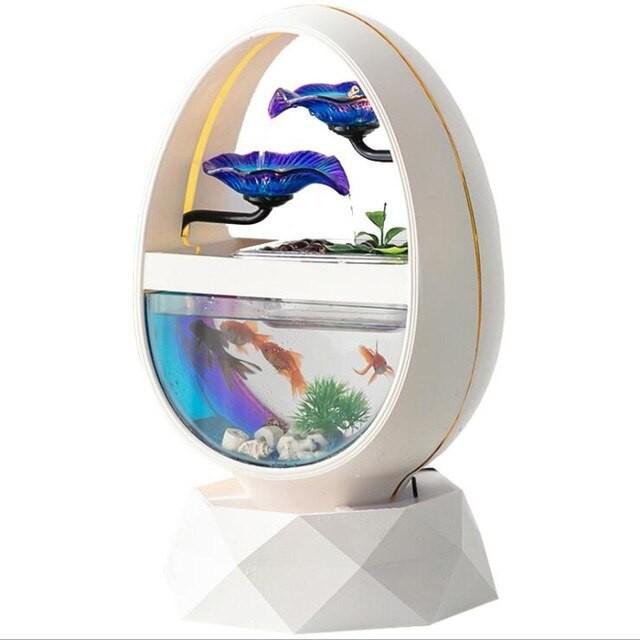 水槽 熱帯魚 金魚 セラミック 創造的 ヨーロッパ 水装飾品 加湿 デスクトップ ガラス 水槽 楕円 幾何学装飾 White L