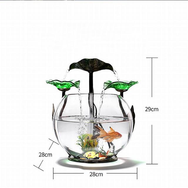 水槽 熱帯魚 金魚 小さな ミニシリンダー デスク リビングルーム 屋内装飾 クリエイティブ ラウンド エコロジー ガラス Fish tank 28x28x